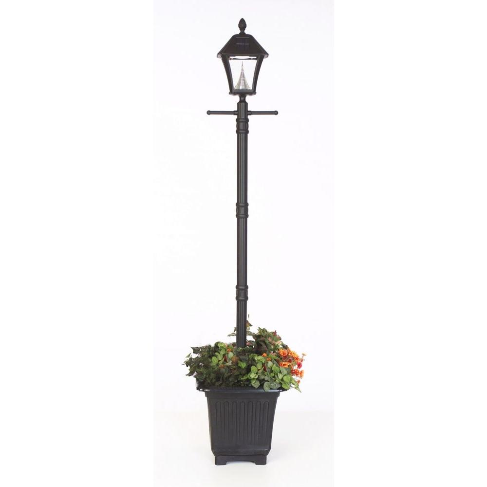 Gama sonic baytown solar black outdoor postwall light with bright baytown solar black outdoor integrated led freestanding lamp post with planter mozeypictures Choice Image