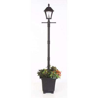 Baytown Solar Black Outdoor Integrated Led Freestanding Lamp Post With Planter Base