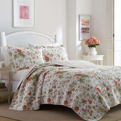 Breezy Floral 3-Piece Orange King Quilt Set