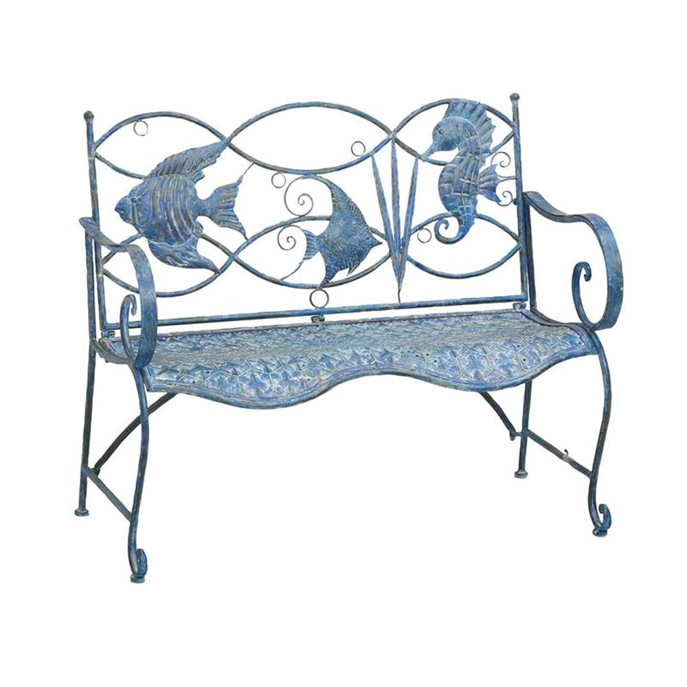 Cape Craftsman 43.75 in. Blue Fish Metal Outdoor Bench
