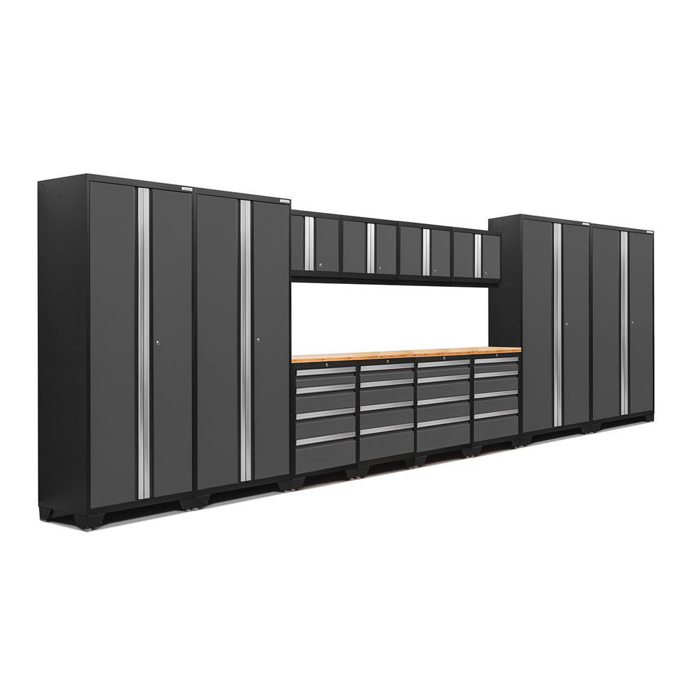Bold 3.0 77.25 in. H x 216 in. W x 18 in. D 24-Gauge Welded Steel Bamboo Worktop Cabinet Set in Gray (14-Piece)