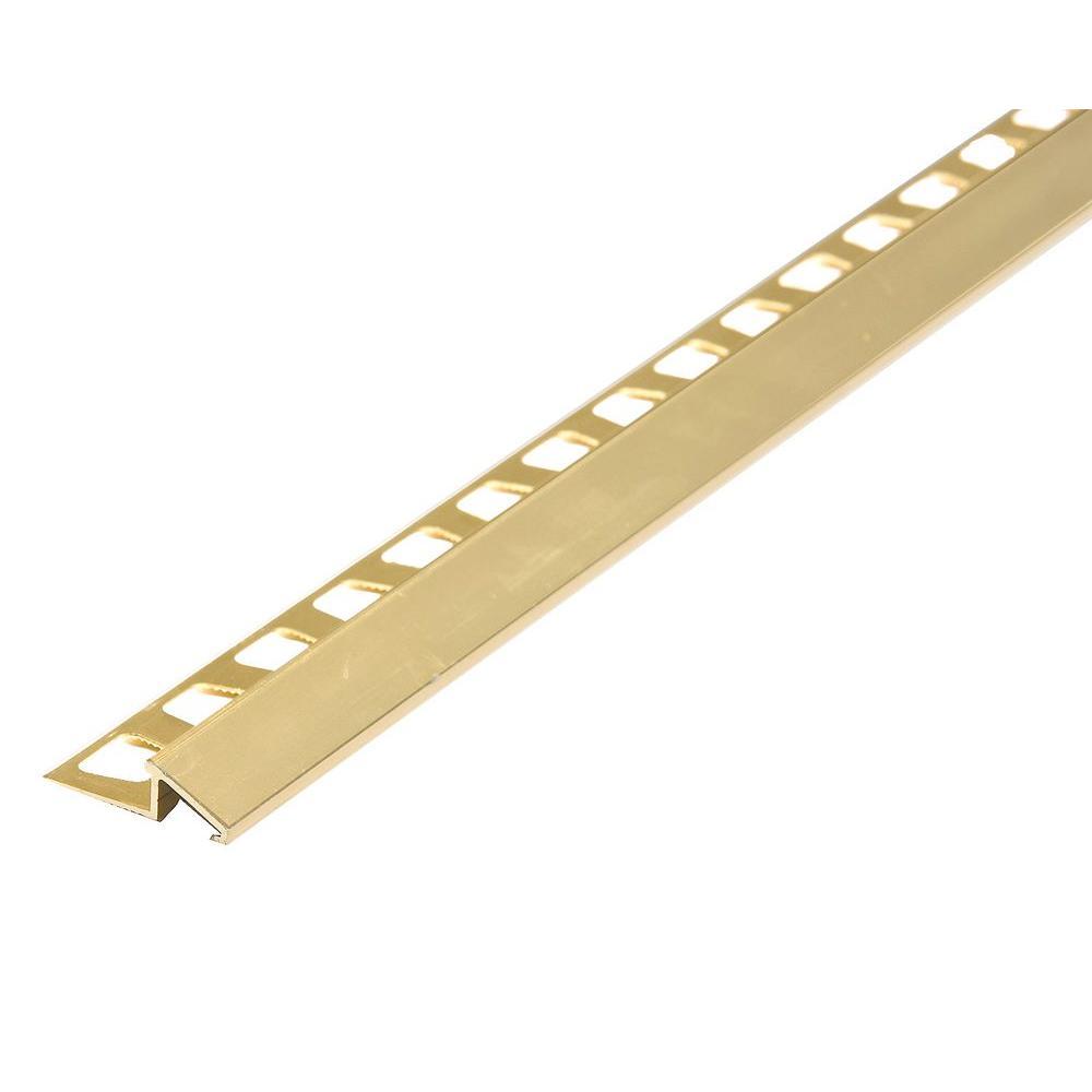 Brite Brass 0.42 in. x 96 in. Aluminum Reducer Tile Edging