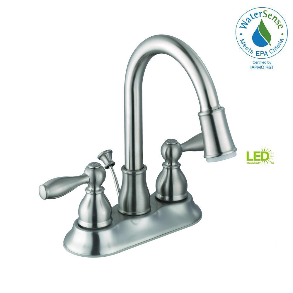 Glacier Bay Mandouri 4 in. Centerset 2-Handle LED Bathroom Faucet ...