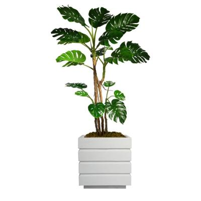78 in. Tall Monstera Artificial Faux Home Dcor with Burlap Kit and Fiberstone Planter