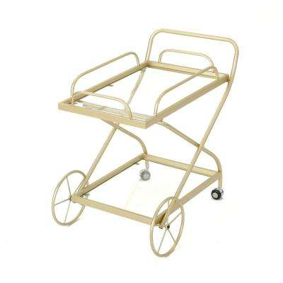 Indio Traditional Gold Iron and Glass Patio Serving Cart