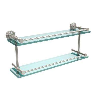 Waverly Place 22 in. L x 8 in. H x 5 in. W 2-Tier Clear Glass Bathroom Shelf with Gallery Rail in Polished Nickel