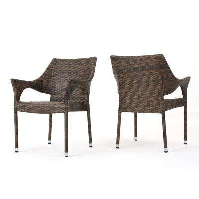 Admirable Alessandro Mix Mocha Stackable Wicker Outdoor Dining Chair 2 Pack Squirreltailoven Fun Painted Chair Ideas Images Squirreltailovenorg