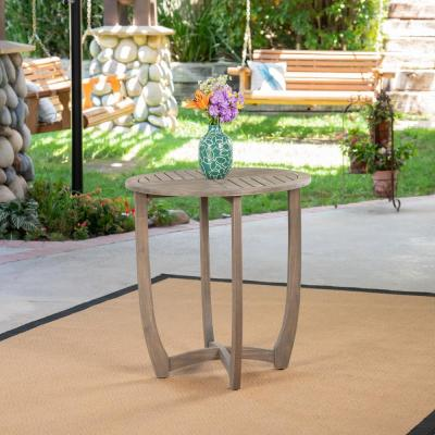Carina Gray Round Wood Outdoor Bistro Table