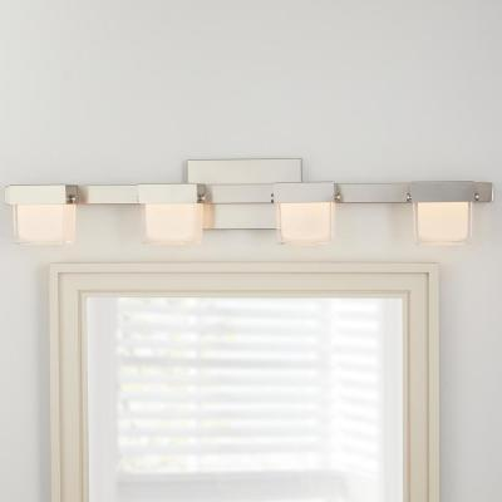 40-Watt Equivalent 4-Light Brushed Nickel Integrated LED Vanity Light with White Glass