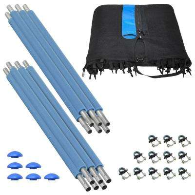 Trampoline Enclosure Set to Fits 15 ft. Round Frames, for 3 or 6 W-Shaped Legs -Set Includes: Net, Poles & Hardware Only