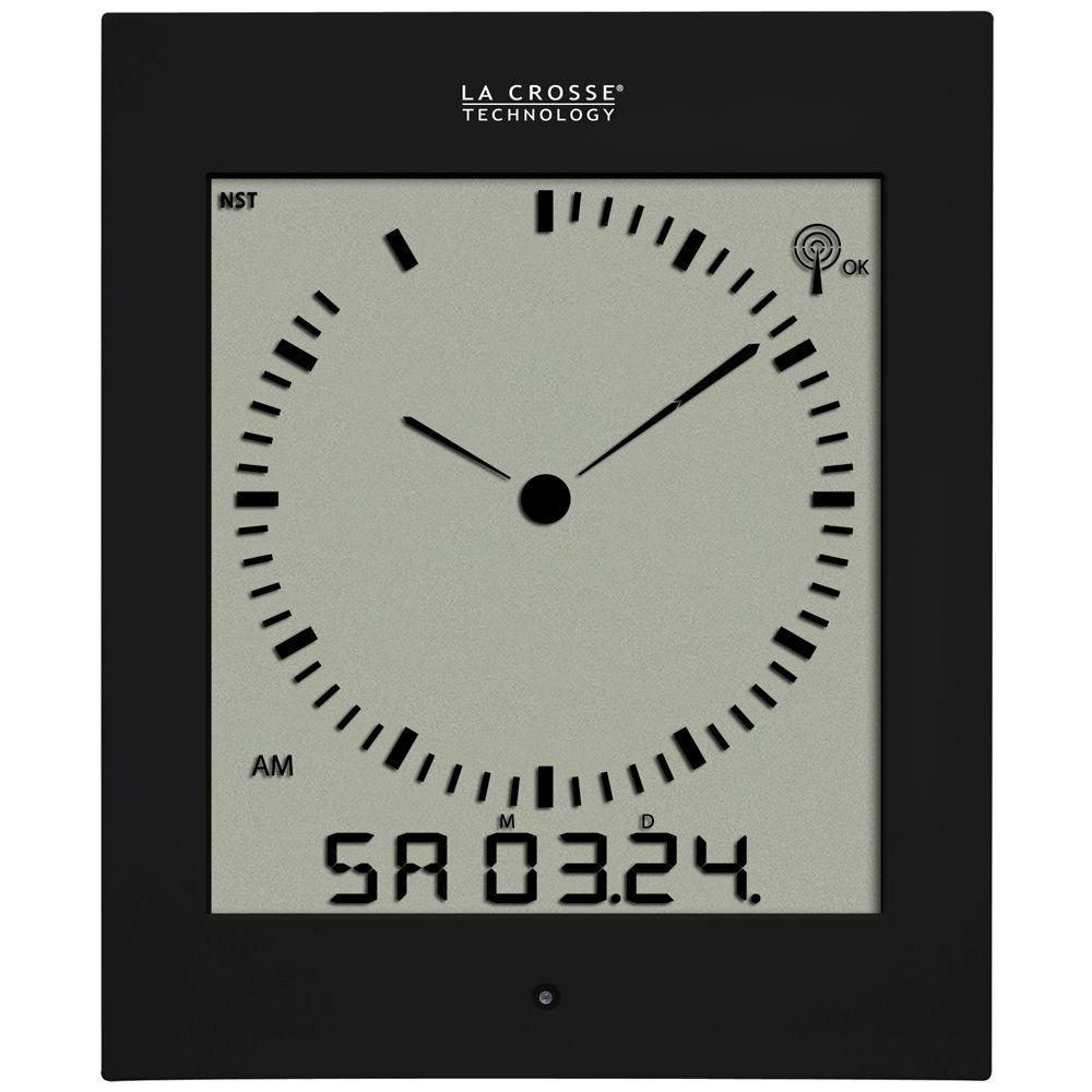 La Crosse Technology Analog Style Digital Atomic Clock in Black