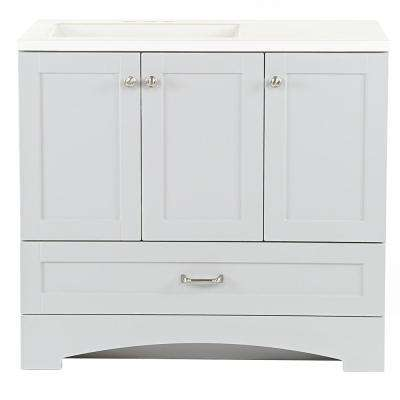 Lancaster 36 in. W x 19 in. D Bath Vanity in Pearl Gray with Cultured Marble Vanity Top in White with White Sink