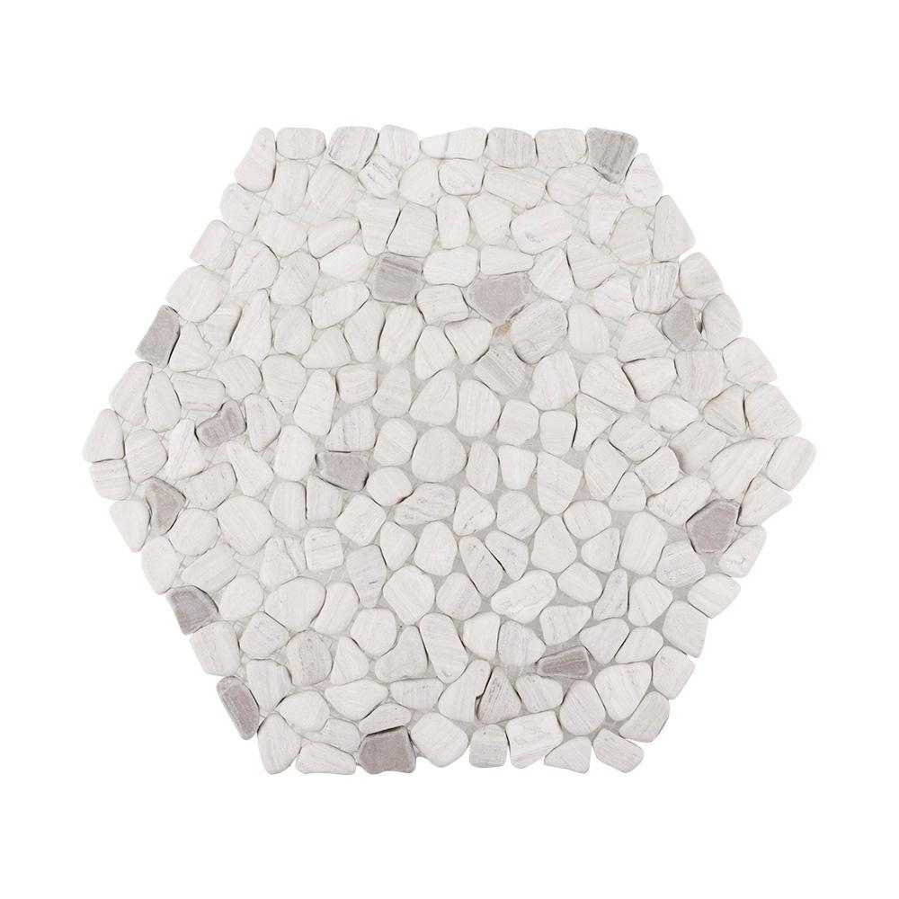 Moonshine Gray Pebble 13.375 in. x 11.875 in. x 11 mm Honed Limestone Mosaic Wall/Floor Tile