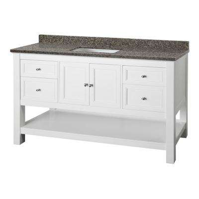 Gazette 61 in. W x 22 in. D Vanity in White with Granite Vanity Top in Sircolo with White Sink