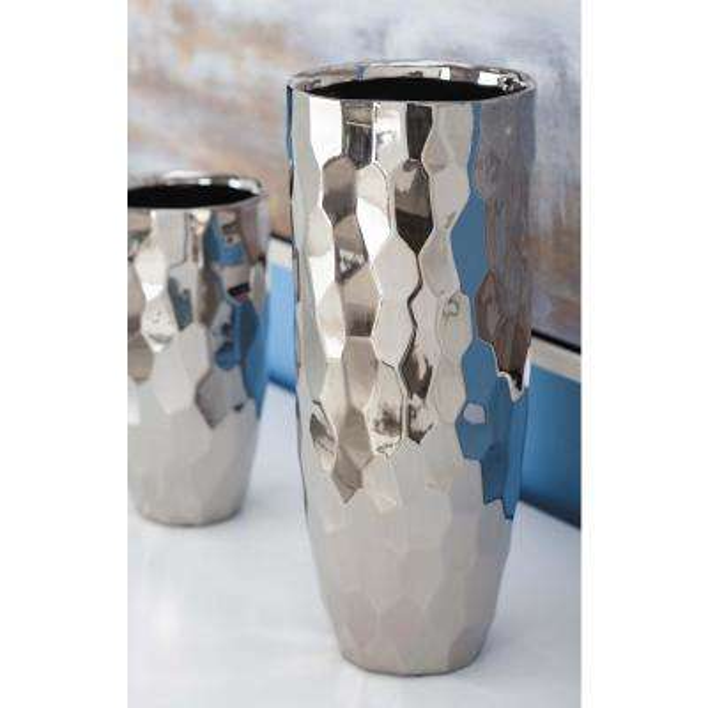 12 in. Honeycomb Metallic Ceramic Decorative Vase