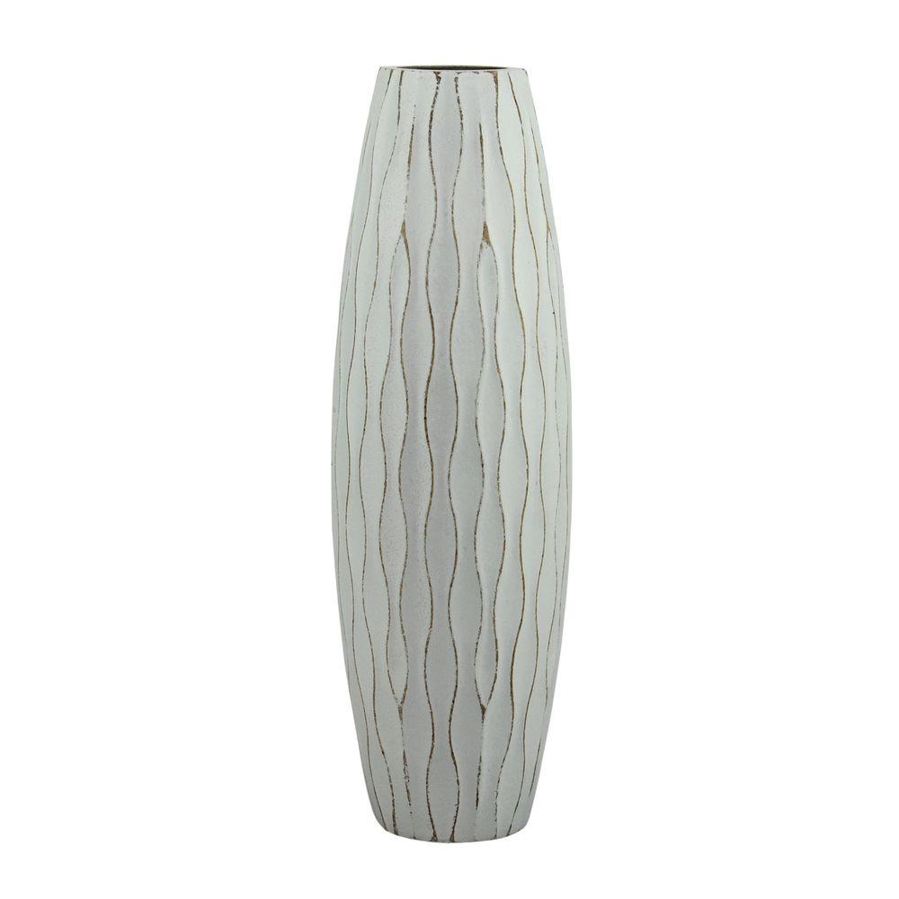H Weathered Wood Decorative Vase In Pale Ocean
