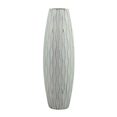12 in. H Weathered Wood Decorative Vase in Pale Ocean