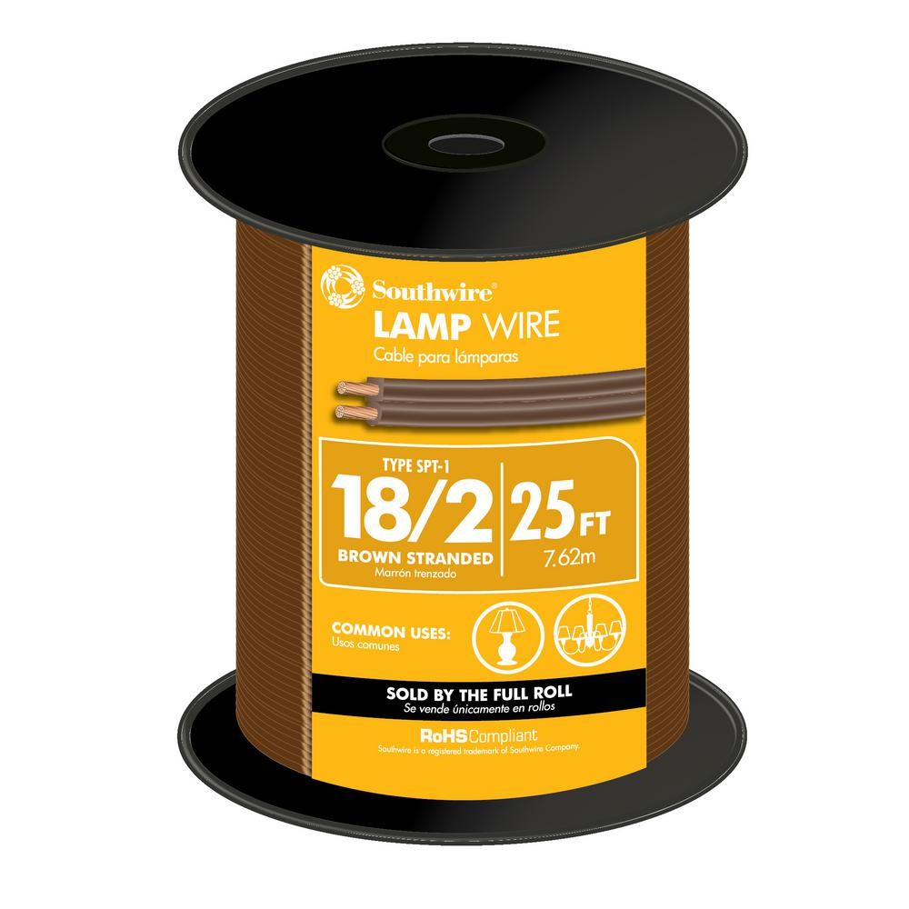 Southwire 25 ft. 18/2 Brown Stranded CU SPT-1 Lamp Wire