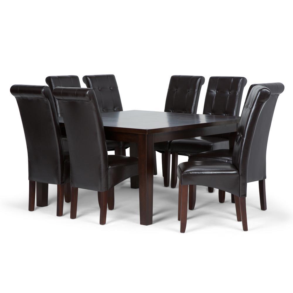 Excellent Simpli Home Cosmopolitan 9 Piece Dining Set With 8 Creativecarmelina Interior Chair Design Creativecarmelinacom