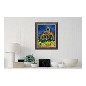 Amanti Art 20 inch x 24 inch 'The Church at Auvers, 1890' by Vincent van Gogh Printed Framed Canvas Wall Art by Amanti Art