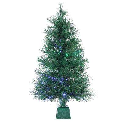 3 ft. Pre-Lit Fiber Optic Artificial Christmas Tree with 50 UL Clear Lights