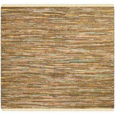 Rag Rug Yellow/Multi 6 ft. x 6 ft. Square Area Rug