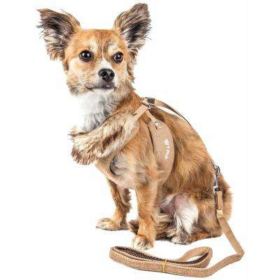 Luxe Furracious X-Small 2-in-1 Dog Harness Leash with Removable Fur Collar in Khaki