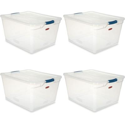 Cleverstore 71 Qt. Latching Plastic Storage Container and Lid, Clear (4-Pack)
