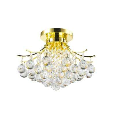 Empire Collection 3-Light Gold and Clear Crystal Flush Mount