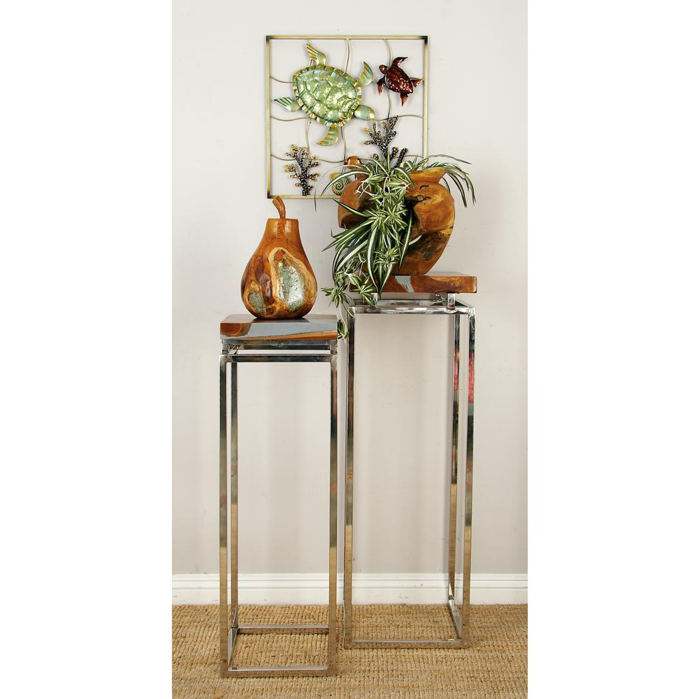 Litton Lane Brown Square Nesting Pedestals with Silver Legs (Set of 2)