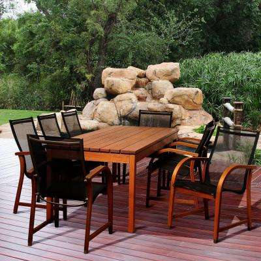 Baker 9-Piece Eucalyptus Rectangular Patio Dining Set