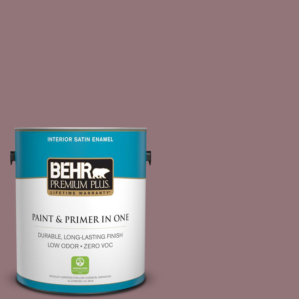 BEHR Premium Plus 1 gal. #110F-5 Phantom Hue Satin Enamel Zero VOC Interior Paint and Primer in One