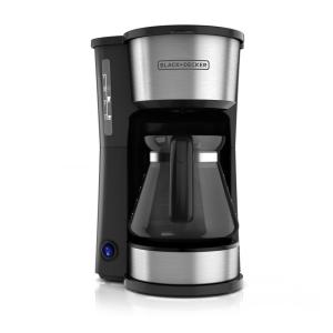 4-in-1 5-Cup Black Stainless Steel Drip Coffee Maker