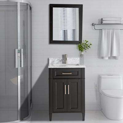 Savona 24 in. W x 22 in. D x 36 in. H Bath Vanity in Espresso with Vanity Top in White with White Basin and Mirror