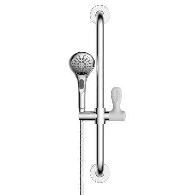 18 in. x 1-1/4 in. Concealed Screw Grab Bar with Adjustable Hand Shower Holder and 4-Spray Handheld Shower in Chrome