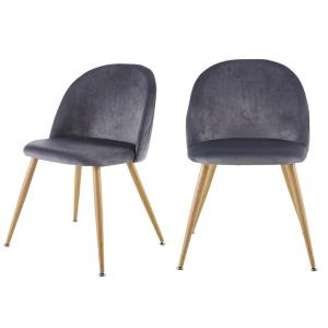 Contemporary Design Gray Velvet Upholstered Side Chair with Adjustable Height Legs Pads for Living Room (Set of 2 )