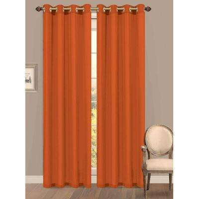 Semi-Opaque Primavera Crushed Microfiber 55 in. W x 84 in. L Grommet Extra Wide Curtain Panel in Orange