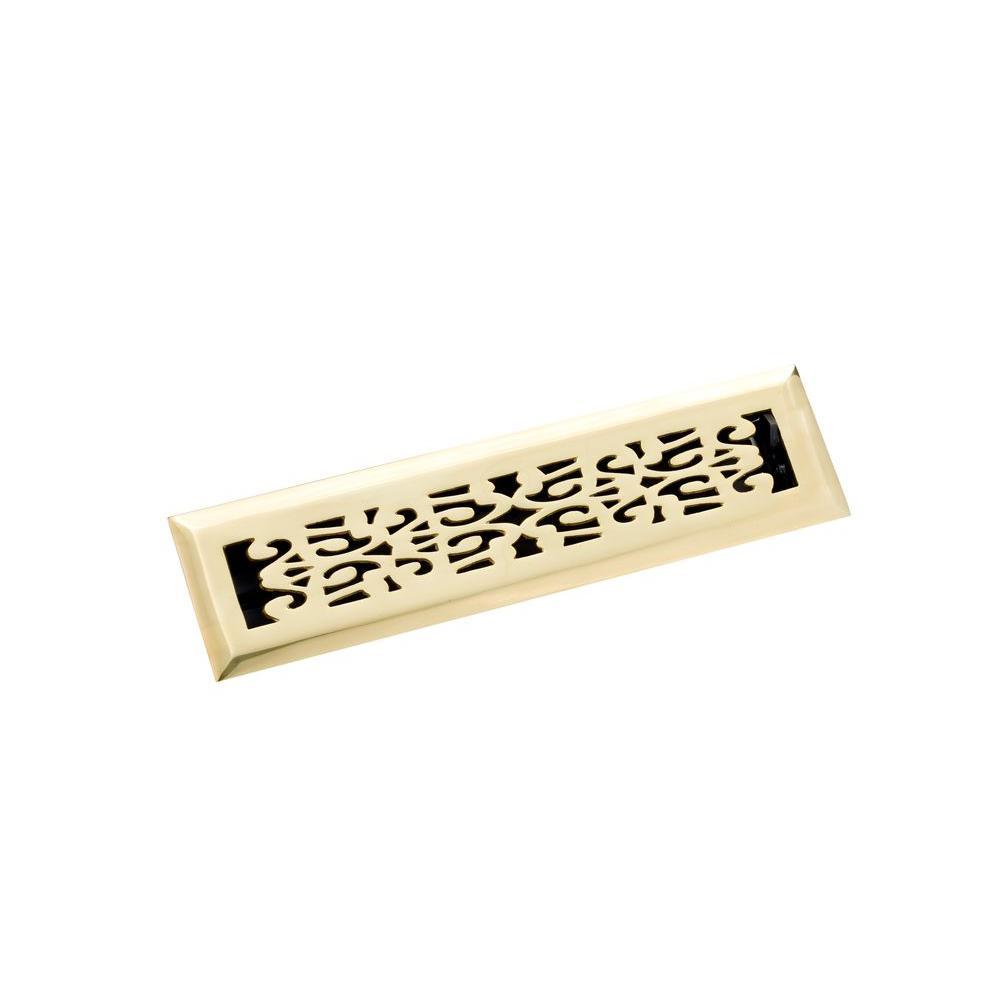 2.25 in. x 12 in. Scroll Floor Register, Polished Brass