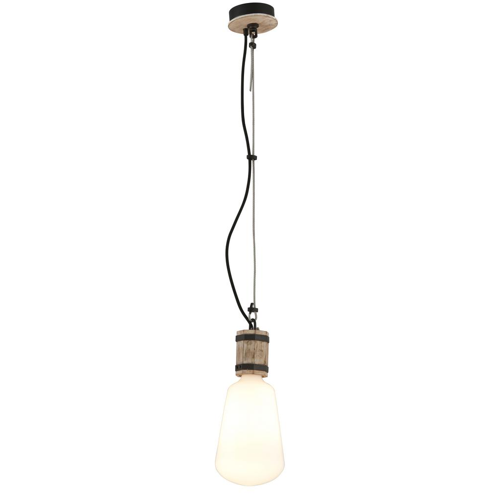 Troy Lighting Fulton 1 Light Rusty Iron With Salvaged Wood Pendant