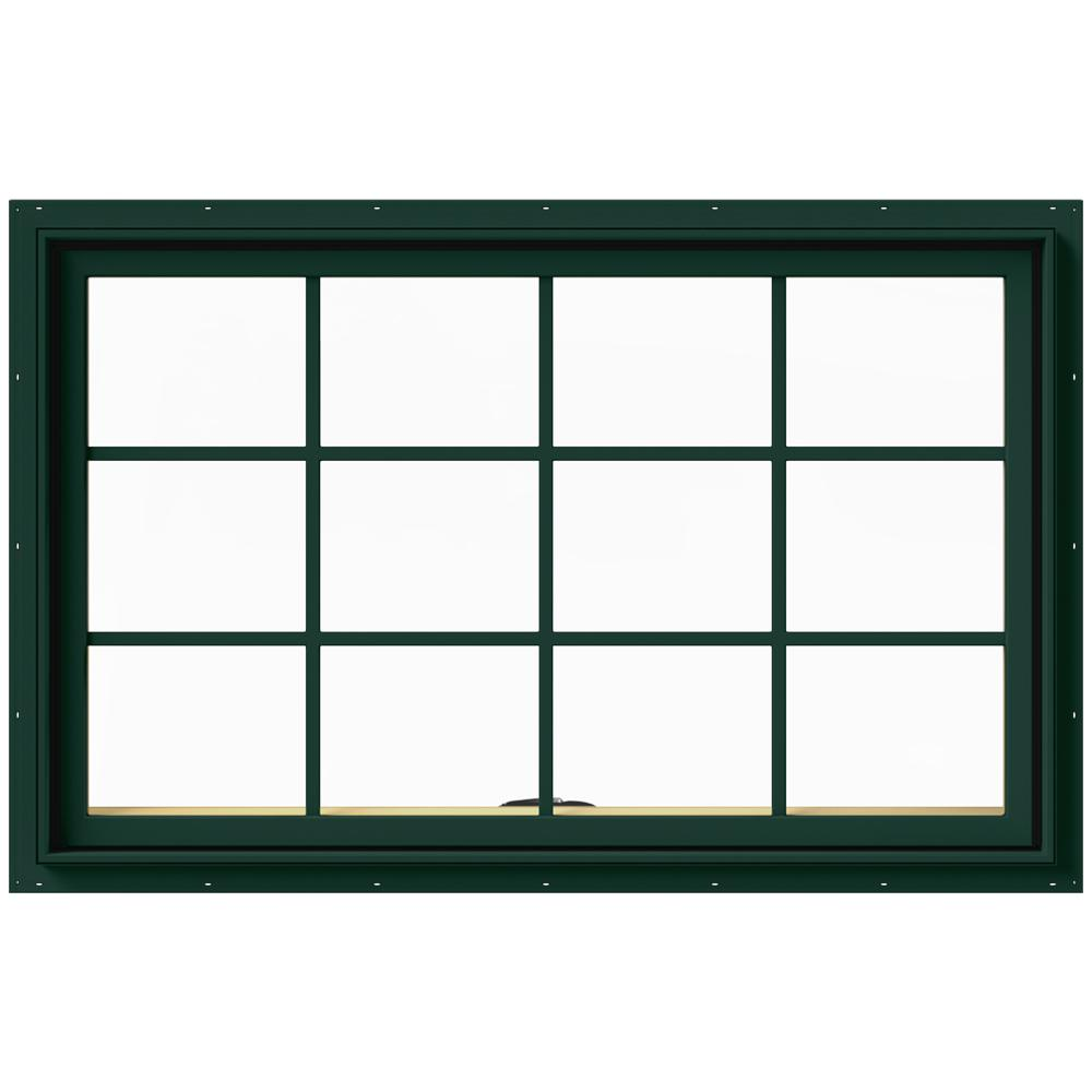 JELD-WEN 48 in. x 30 in. W-2500 Series Green Painted Clad Wood Awning Window w/ Natural Interior and Screen