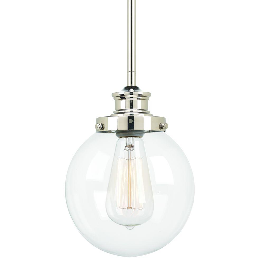 Progress Lighting Penn 6.88 in. 1-Light Polished Nickel Mini Pendant with Clear Glass