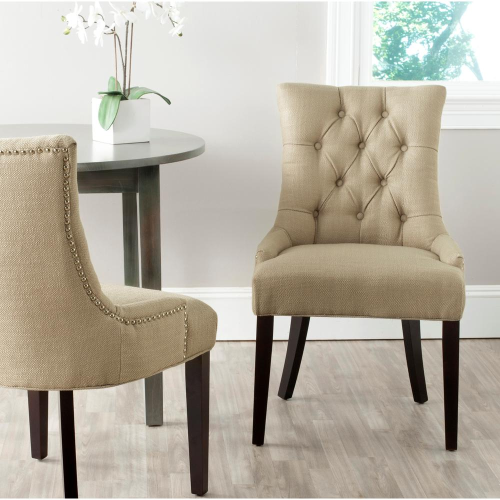 SAFAVIEH Safavieh Abby Antique Gold/Espresso Linen Blend Side Chair (Set of 2)