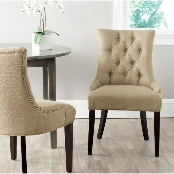 Safavieh Abby Antique Gold/Espresso Linen Blend Side Chair (Set of 2)