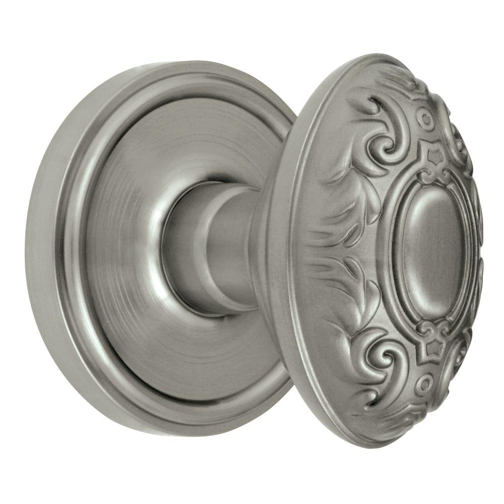 Grandeur Georgetown Rosette Satin Nickel with Dummy Grande Victorian Knob
