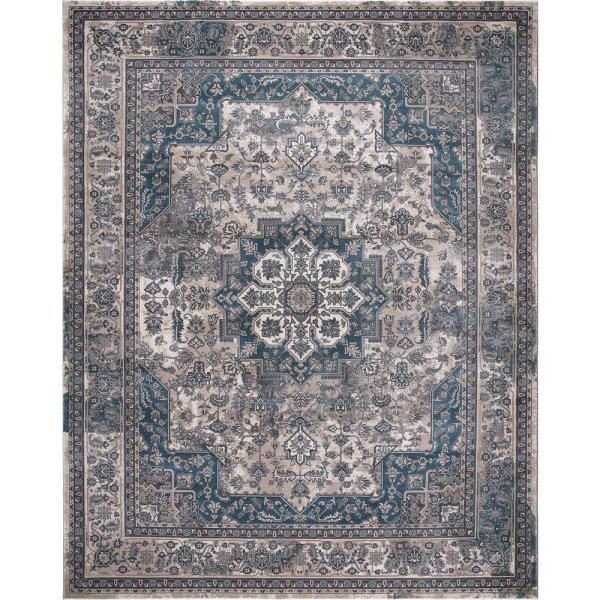 Home Decorators Collection Angora Blue 7 Ft X 9 Ft Medallion Area Rug 27366 The Home Depot