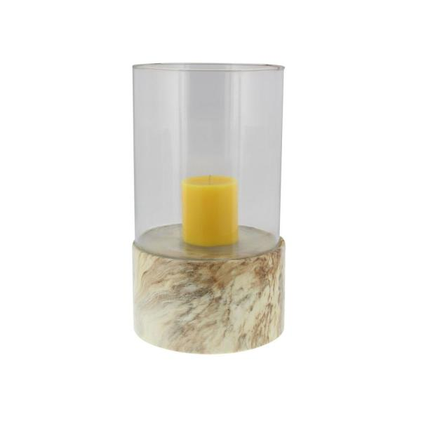 Litton Lane 13 in. Beige and Brown Ceramic and Glass Marble-Style