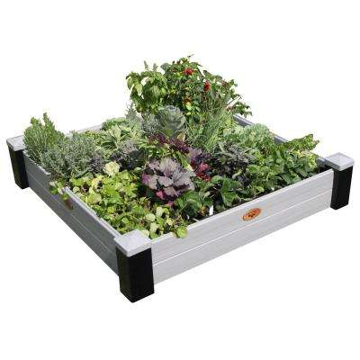 48 in. x 48 in. x 10 in. Maintenance Free Black and Gray Vinyl Raised Garden Bed