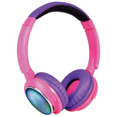 Kid-Safe Over-the-Ear Bluetooth Wireless LED Headphones with Volume Limit Controls