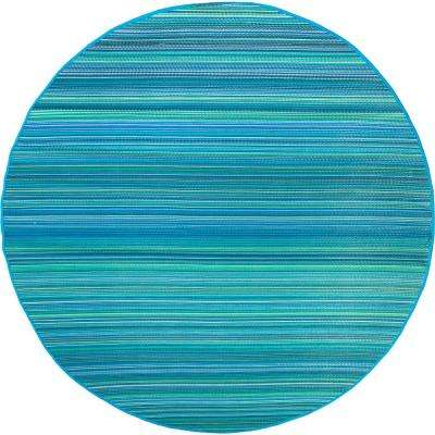 Cancun Indoor/Outdoor Turquoise and Moss Green 8 ft. Round Area Rug