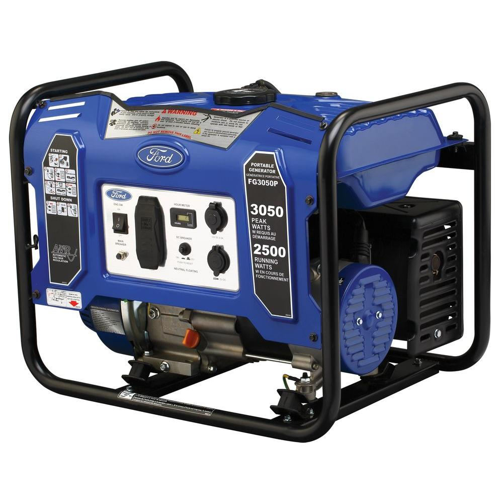 Ford 3,050/2500-Watt Gasoline Powered Recoil Start Portable Generator with 180 cc Ducar Engine